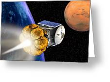 Mars Express Booster Rocket, Artwork Greeting Card