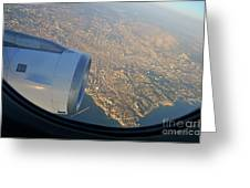 Marseille City From An Airplane Porthole Greeting Card