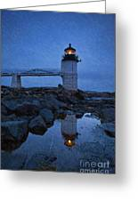 Marshall Point Lighthouse In Winter Storm. Greeting Card