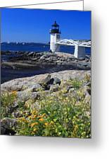 Marshall Point Lighthouse Summer Flowers Greeting Card