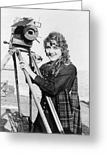 Mary Pickford (1893-1979). Born Gladys Mary Smith. American Actress, With A Movie Camera On A Beach, C1916 Greeting Card