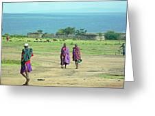 Masai Village Greeting Card