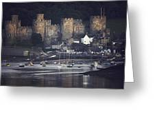 Massive Eight-towered Castle Looms Greeting Card