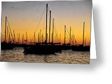 Masts At Sunset Greeting Card