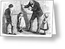 Measuring Children, 1876 Greeting Card by Granger