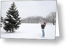 Measuring The Height Of A Tree Greeting Card