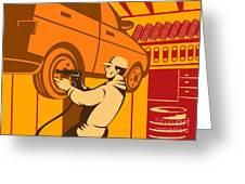 Mechanic Automotive Repairman Retro Greeting Card