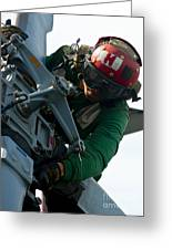 Mechanic Inspects An Mh-60r Sea Hawk Greeting Card
