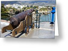 Medieval Cannon At The Balcon De Europa Greeting Card