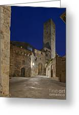 Medieval Street At Twilight Greeting Card by Rob Tilley