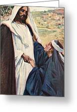 Meeting Of Jesus And Martha Greeting Card