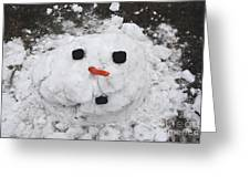 Melting Snowman Greeting Card