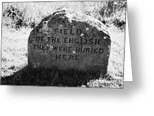 memorial stone for the dead english on Culloden moor battlefield site highlands scotland Greeting Card by Joe Fox