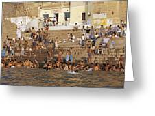 Men And Boys Bathe At An Ancient Ghat Greeting Card