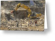 Men At Work Construction Site Greeting Card
