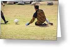 Men Soccer Action 1 Greeting Card