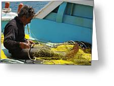 Mending His Nets Greeting Card