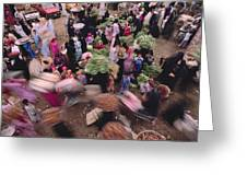 Merchants At Saqqaras Market Carry Greeting Card