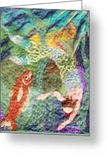 Mermaid And Fish Greeting Card by Nicole Besack