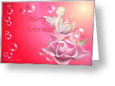Merry Christmas Cherub And Rose Greeting Card