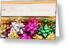 Merry Christmas Message With Colourful Bows Greeting Card