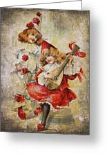 Merry Making Antique Girls In Red And White Grunge Greeting Card