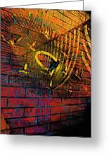 Metal Sculpture Against A Brick Wall Greeting Card