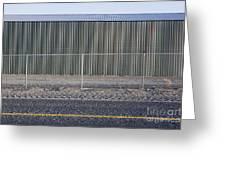 Metal Storage Shed Behind Fence Greeting Card