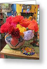 Mexican Paper Flowers And Talavera Pottery Greeting Card
