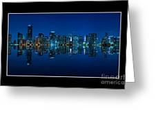 Miami Skyline Night Panorama Greeting Card
