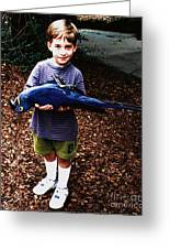 Michael And The Blue Macaw Greeting Card