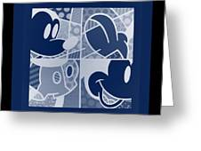 Mickey In Negative Deep  Blue Greeting Card