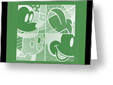Mickey In Negative Olive Green Greeting Card