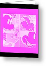 Mickey In Negative Pink Greeting Card
