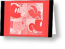 Mickey In Negative Red Greeting Card