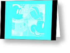 Mickey In Negative Turquois Greeting Card