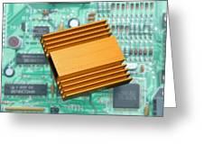 Microchip Processor Heat Sink Greeting Card by Sheila Terry