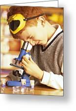 Microscope Use Greeting Card