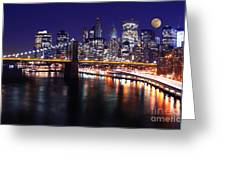 Midnight In The Shadow Of Brooklyn Bridge - Brooklyn Bridge Greeting Card