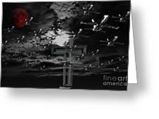 Midnight Raid Under The Red Moonlight Greeting Card