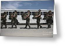 Midshipmen Carry Their Packs And Board Greeting Card