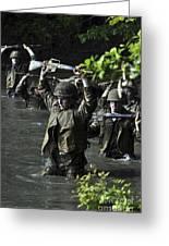 Midshipmen Cross A Creek During Sea Greeting Card
