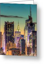 Midtown Buildings Morning Twilight Greeting Card by Clarence Holmes