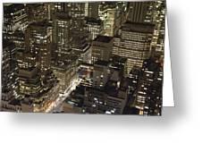 Midtown Manhattan Illuminated At Night Greeting Card