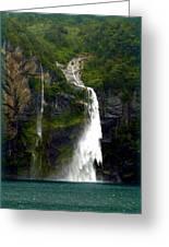 Milford Sound Waterfall Greeting Card