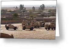 Military Vehicles Parked Outside Loy Greeting Card