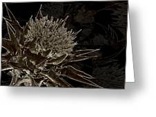 Milk Thistle In Sepia Greeting Card