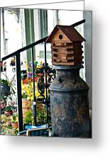 Milkcan And Birdhouse Greeting Card