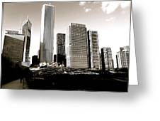 Millenium Park Skyscrapers Greeting Card