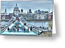 Millennium Bridge And St Paul's Cathedral Greeting Card